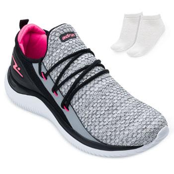 Tênis Running Adrun Fit e Meia AD21-8410 Cinza-Preto-Rosa