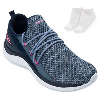 Tênis Running Adrun Fit e Meia AD21-8410 Marinho-Rosa