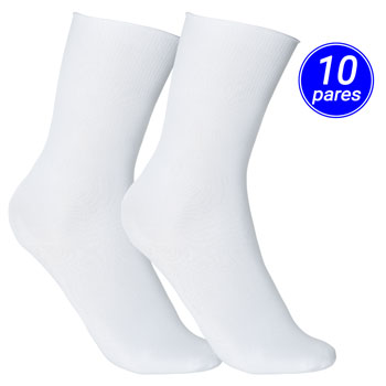 Meia Clássica Advance Poliamida Kit 10 Pares AD21-1100 Branco