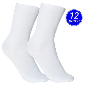 Meia Clássica Advance Poliamida Kit 12 Pares AD21-1100 Branco