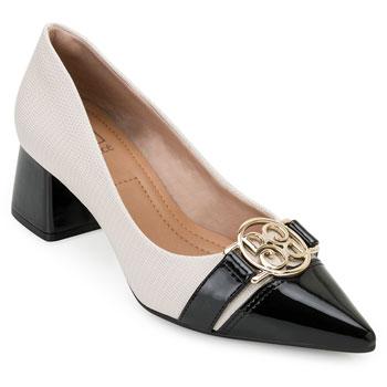 Sapato Salto Bloco Bebecê BC20-T3820030 Creme-Preto