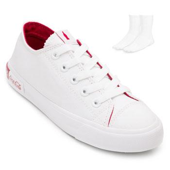 Tênis Coca-Cola Blend Canvas e Meia CL20-CC1687 Branco-Vermelho