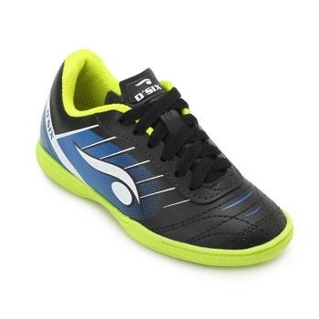 Chuteira Futsal Dsix Juvenil DS19 Indoor 6204 Preto-Azul-Verde