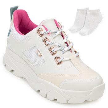Tênis Dad Sneaker Dakota e Meia DT20-G3071 Branco-Rosa