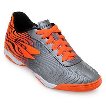 Chuteira Futsal Dray TopFly X2 DR19-371CO Chumbo-Laranja