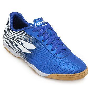 Chuteira Futsal Dray TopFly X2 DR19-371CO Azul-Branco