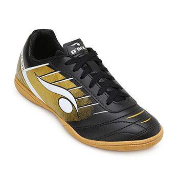 Chuteira Futsal Dsix Juvenil DS19 6204 Preto-Dourado