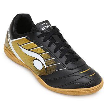 Chuteira Futsal Dsix DS19 6204 Preto-Dourado
