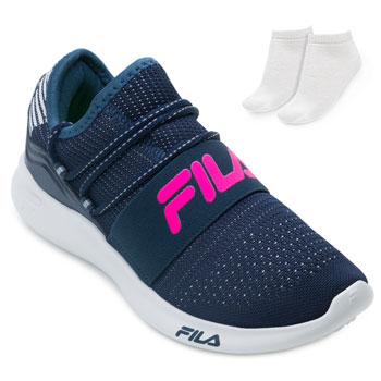 Tênis Fila Trend 2.0 e Meia FL21 Marinho-Prata-Rosa