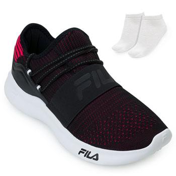 Tênis Fila Trend 2.0 e Meia FL21 Preto-Rosa-Branco
