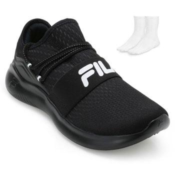 Tênis Fila Trend e Meia FL19 Preto-Branco