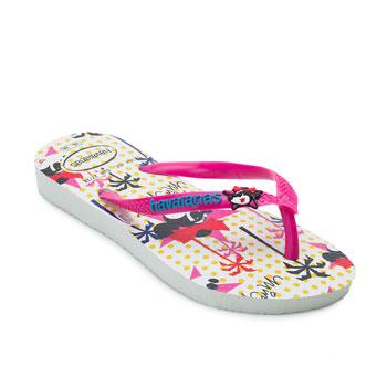 Chinelo Havaianas Infantil Disney Cool Branco-Rosa