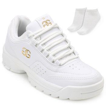 Tênis Dad Sneakers Logus e Meia LG19-19960P Branco