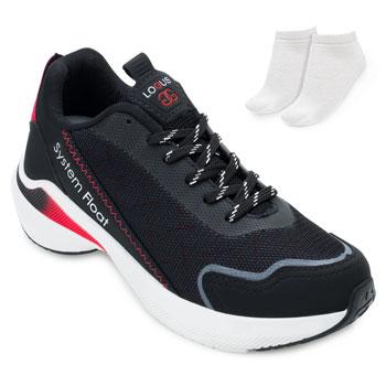Tênis Running Logus e Meia LG21-21060P Preto-Vermelho-Branco