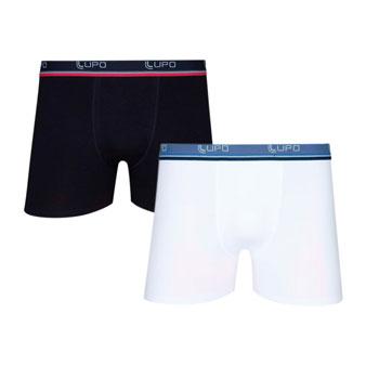 Cueca Lupo Boxer Kit C-2 00523 Preto-Branco