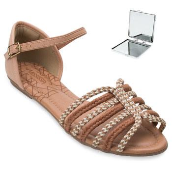 Sandália Mississipi e Espelho MS21-Q4822 Caramelo-Bege