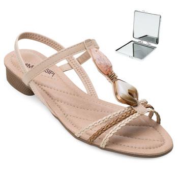 Sandália Mississipi e Espelho MS21-Q5072 Nude-Caramelo