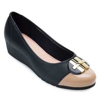 Sapato Anabela Moleca ML21-5156770 Preto-Bege