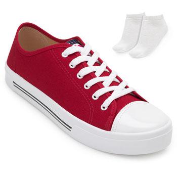 Tênis Casual Moleca e Meia ML20-5667311 Vermelho-Branco