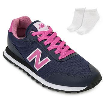 Tênis New Balance e Meia NB20-GW50NV Marinho-Rosa