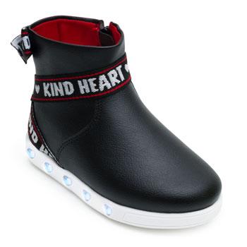 Tênis de Led Cano Médio Kind Heart Pampili PP21-165126 Preto