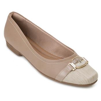 Sapato Salto Baixo Piccadilly PD20-251077 Bege TAM 40 ao 44