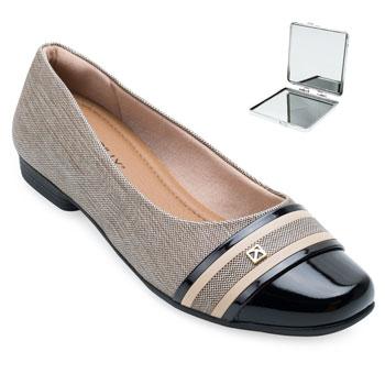 Sapato Piccadilly e Espelho PD21-250172 Preto-Bege