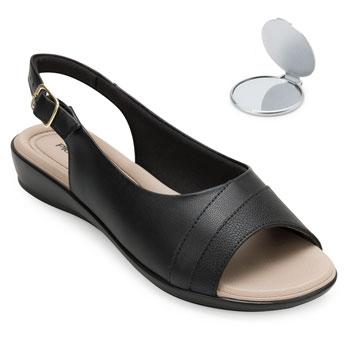 Sandália Comfort Piccadilly e Espelho PD20-500248 Preto