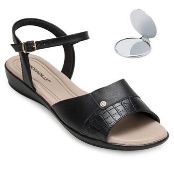 Sandália Comfort Piccadilly e Espelho PD20-500256 Preto