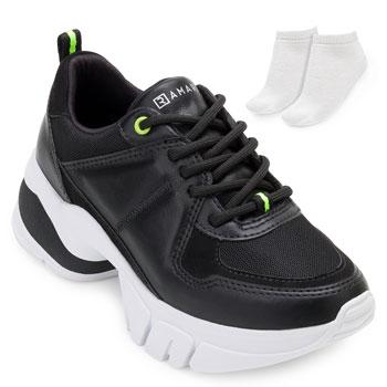 Tênis Sneaker Dad Ramarim e Meia RM20-2080102 Preto-Branco