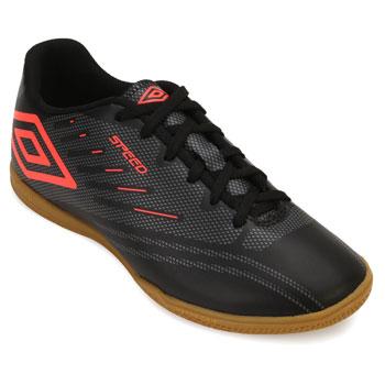Chuteira Futsal Umbro Speed IV UB18  Preto-Grafite-Coral