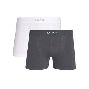 Cueca Lupo Boxer Kit c/2 0436 Branco-Cinza