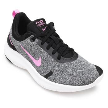 Tênis Nike Flex Experience RN 8 NK19 Cinza-Preto-Rosa