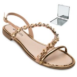 Sandália Mississipi e Espelho MS21-Q4914 Nude-Dourado